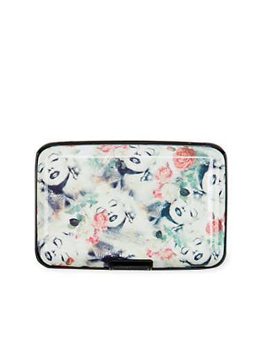 Card Holder Wallet with Marilyn Monroe Floral Print,MULTI COLOR,large