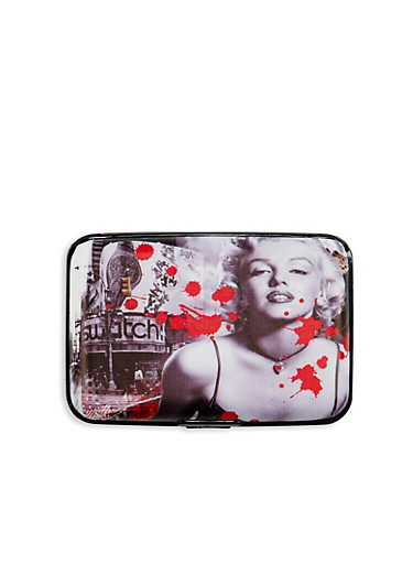 Card Holder Wallet with Marilyn Monroe Graphic,RED,large