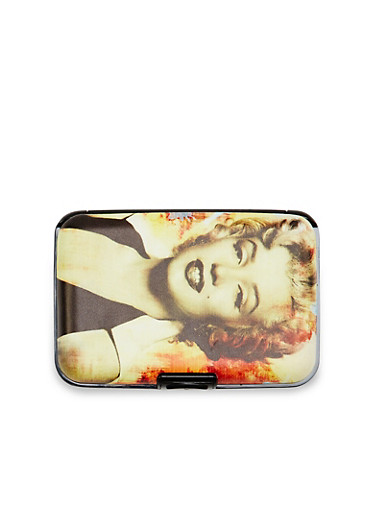 Card Holder Wallet with Marilyn Monroe Graphic,YELLOW,large