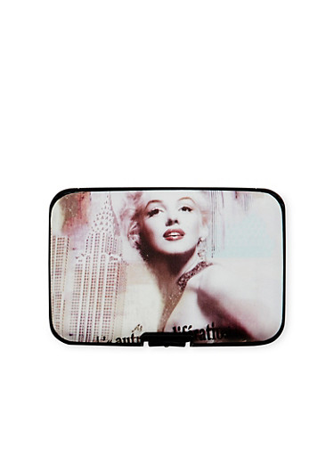 Card Holder Wallet with Marilyn Monroe Print,MULTI COLOR,large