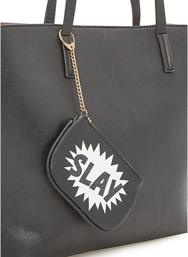 Keychain Pouch with Slay Print,BLACK,large