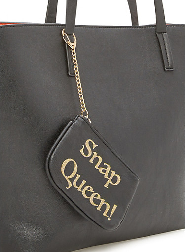 Keychain Pouch with Snap Queen Print,BLACK/GOLD,large