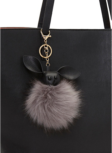 Bunny Pom Pom Key Chain,BLACK,large