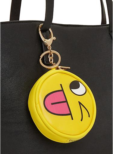 Jokes on You Emoji Coin Purse Key Chain,YELLOW,large