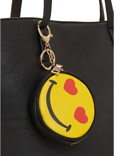 Love Smiley Face Emoji Coin Purse Keychain,YELLOW,large