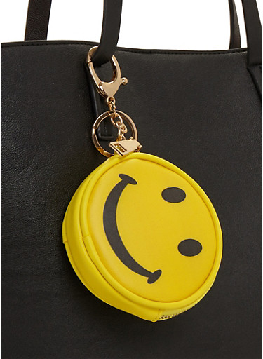 Smiley Face Emoji Coin Purse Keychain,YELLOW,large