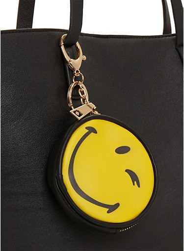 Winking Smiley Face Emoji Coin Purse Keychain,YELLOW,large