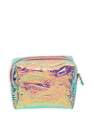 Textured Holographic Faux Leather Pouch,PINK,large