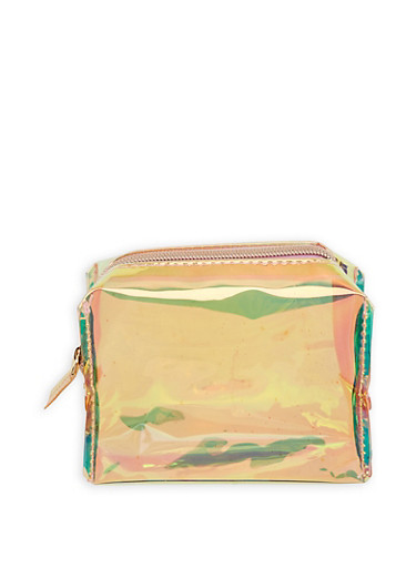 Clear Iridescent Zip Pouch,MULTI COLOR,large
