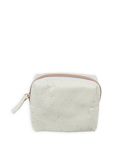 Glitter Zip Pouch,WHITE,large