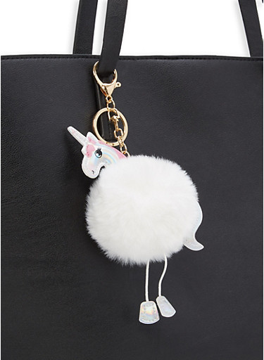 Unicorn Pom Pom Key Chain,WHITE,large