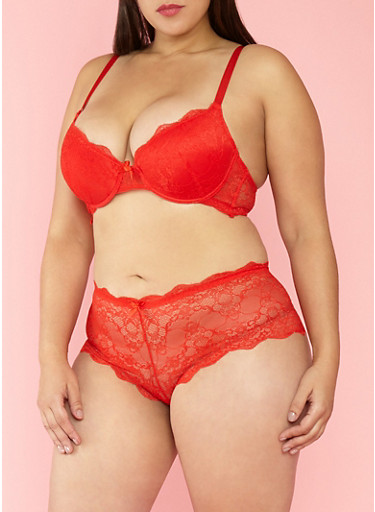 Plus Size Scallop Lace Padded Bra,RED,large