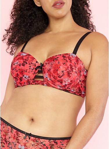 Plus Size Long Line Floral Lace Bra,RED/BLACK,large