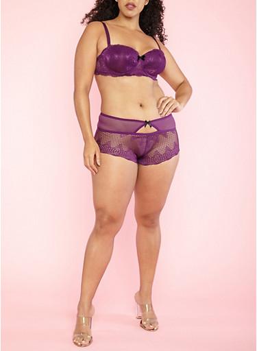 Plus Size Purple Lace Bra,PURPLE /BLACK,large