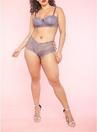 Plus Size Purple Lace Padded Balconette Bra,MED PURPLE,large