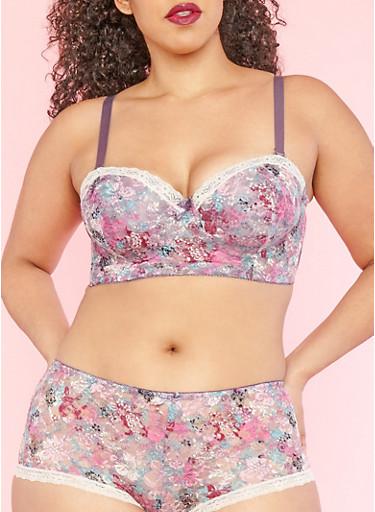 Plus Size Floral Lace Long Line Bra,MED PURPLE,large
