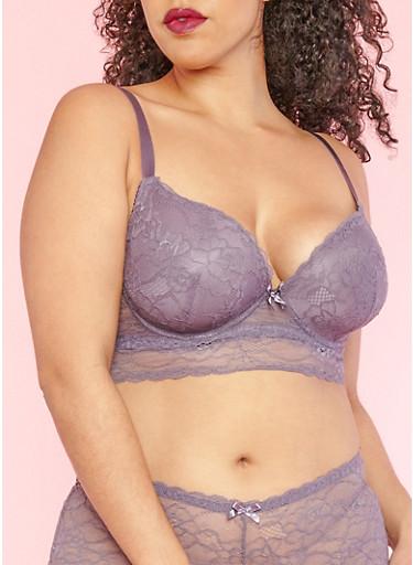 Plus Size Purple Lace Padded Bra,MED PURPLE,large