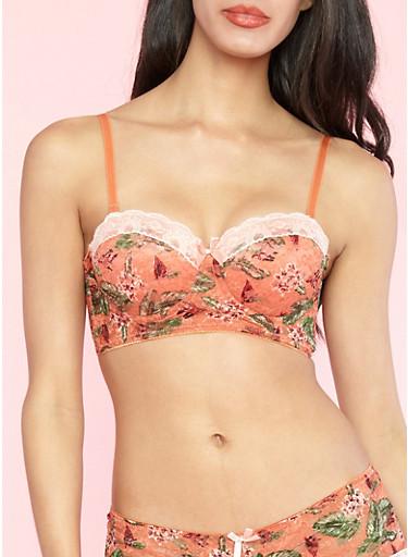 Long Line Floral Lace Bra,MANGO/PEACH,large