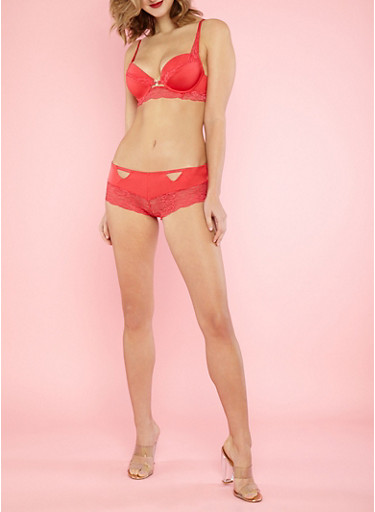 Lace Trim Padded Bra,RED,large