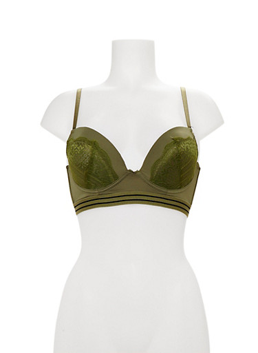 Lace Longline Bra with Striped Trim,OLIVE/NAVY,large