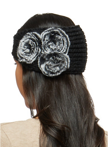 Buttoned Knit Headwrap with Pom Pom Accent,BLACK,large