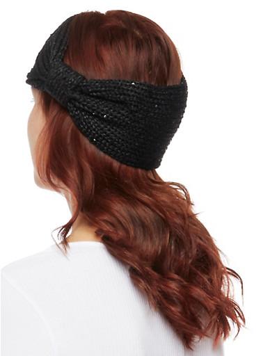 Knit Headband with Knot,BLACK,large