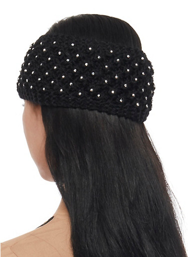 Knit Headband with Metallic Studs,BLACK,large