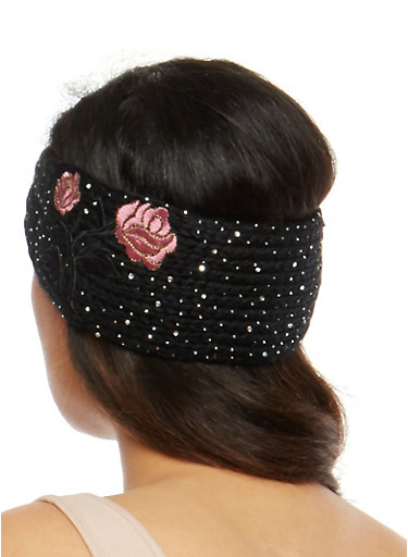 Rhinestone Embellished Knit Headwrap with Floral Applique,BLACK,large