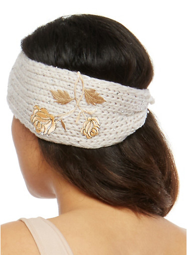 Rhinestone Embellished Knit Headwrap with Floral Applique,NATURAL,large