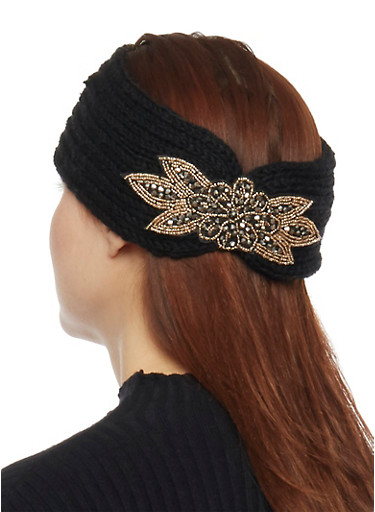 Knit Headband with Beaded Accent,BLACK,large