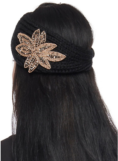 Knit Headband with Beaded Flower,BLACK,large
