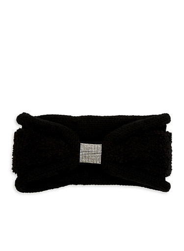Rhinestone Center Faux Fur Knit Headband,BLACK/BLACK FUR,large