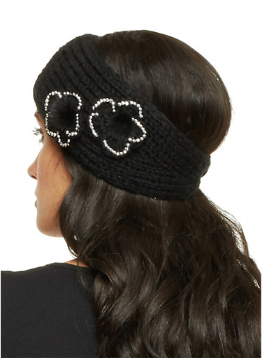 Knit Headband with Fuzzy Flowers,BLACK,large
