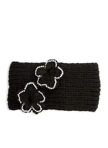 Flower Knitted Headband,BLACK,large