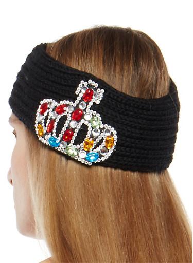 Jeweled Crown Knit Headband,BLACK,large