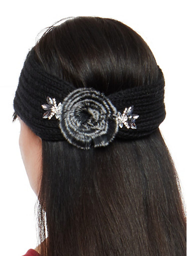 Jeweled Pom Pom Knit Headband,BLACK,large