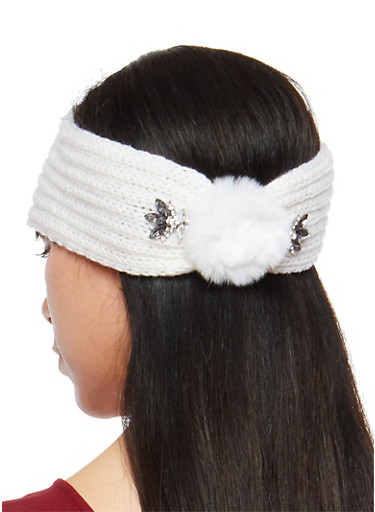 Jeweled Pom Pom Knit Headband,WHITE,large