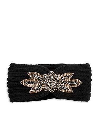 Beaded Applique Headband,BLACK,large