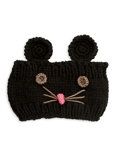 Mouse Knit Headband,BLACK,large