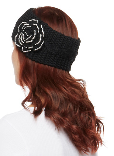 Knit Headband with Studded Rose,BLACK,large