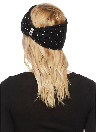 Rhinestone Studded Knit Headband,BLACK,large