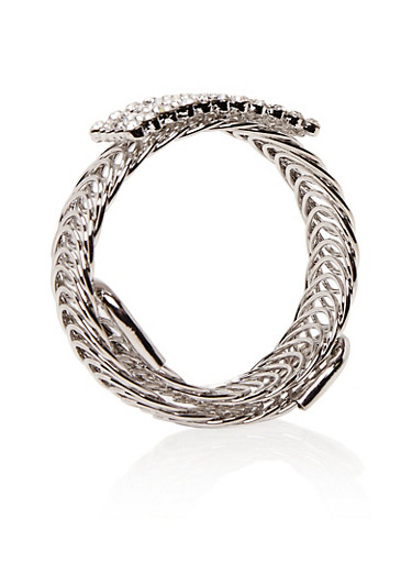 Looped Wrap Bracelet with Crystal Center,SILVER,large