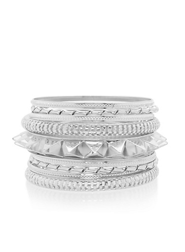 Plus Size Multi Textured Bangles Set,SILVER,large