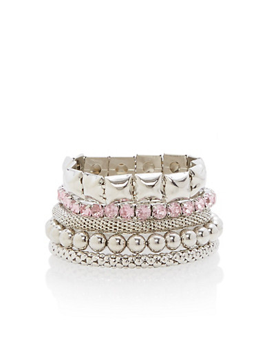 Multi Textured Stretch Bracelets,SILVER,large