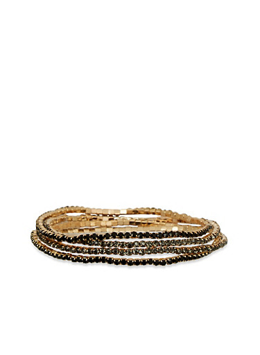 Set of 4 Rhinestone Encrusted Stretch Bracelets,BLACK,large