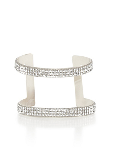 Crystal Cage Cuff Bracelet,SILVER,large