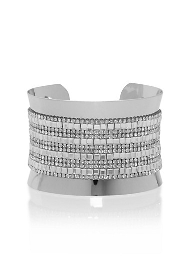 Metallic Rhinestone Cuff Bracelet,SILVER,large