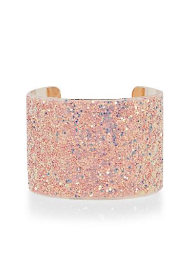 Glitter Cuff Bracelet,ROSE,large