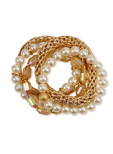 Set of 5 Assorted Stretch Bracelets,TOPAZ,large