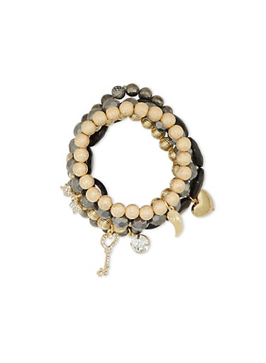 Set of 5 Beaded Stretch Bracelets with Charms,GOLD,large